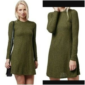 Topshop Olive Green Ribbed Knit Sweater Dress